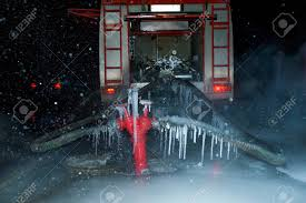 100 Fire Truck Games Free Engine Vehicle In Heavy Frost Stock Photo Picture