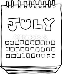Black And White Cartoon Calendar Showing Month July Vector Art