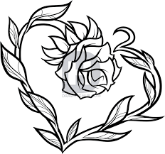 Description Here You Have Tattoo Love The Heart Shaped Rose Is Beautiful Even When Its Uncolored Now Can Color It In Or Take Finished Drawing