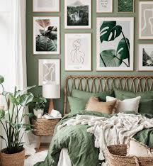 tropische monstera bilderwand line poster schlafzimmer ideen