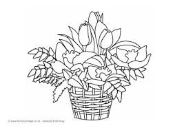 Basket Of Flowers Colouring Page
