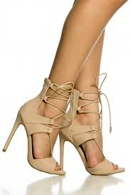 Nude Faux Nubuck Lace Up Single Sole Heels Cicihot Heel Shoes Online Store SalesStiletto