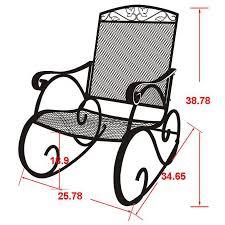 100 Rocking Chair Wheelchair Porch Wrought Iron Outdoor Rocker Patio Glider Deck