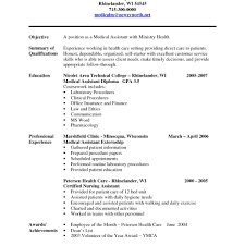 Medical Assistant Resume Examples No Experience Format 2017 With