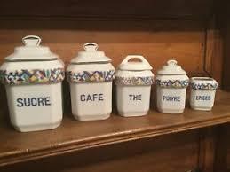 Ceramic Kitchen Canister Sets Vintage Ceramic Kitchen Canister Set Pottery Retro