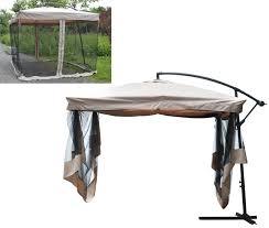 Offset Patio Umbrella W Mosquito Netting by 9 U0027x9 U0027 Offset Umbrella W Mesh Bug Net Patio Backyard Gazebo Outdoor