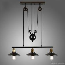 3heads Vintage Pulley Pendant Loft Ceiling Light Hanging Lamp