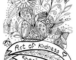 INSTANT DOWNLOAD Adult Coloring Page Design Colouring Act Of Kindness Kids Craft Activity