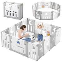 dripex laufgitter laufstall baby absperrgitter 14 paneele schutzgitter krabbelgitter für kinder aus kunststoff mit tür und spielzeugboard grau weiß
