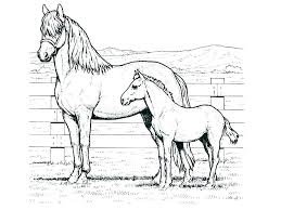 Running Horse Coloring Pages Flying Print Mustang Free Printable Mother And Foal Horses Realistic