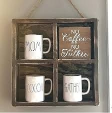 Coffee Mug Display Case Rustic Wall Bedroom Cup