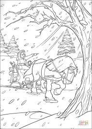 Click The Horse And Carriage In Winter Coloring Pages