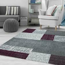 details zu wohnzimmer teppich modern kurzflor lila grau weiß kariert kachel optik neu