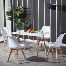 hj wedoo esstisch mit 4 stühlen weiß esszimmer essgruppe 110x70x73cm für esszimmer essgruppe