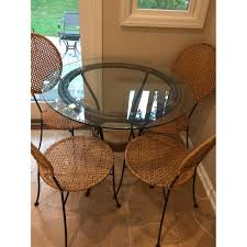 Pier 1 Round Glass Dining Table W/ 4 Chairs - AptDeco Kitsch Round Glass Table Set Of 4 Chairs Dfs Ireland Mcombo Mcombo Ding Side 4ding Clear Ingatorp And Chairs White Ikea Cally Modern Table With La Sierra Fniture Grindleburg 60 Woodstock Carisbrooke Barker Stonehouse Dayton 48 Upholstered Shop Hlpf5cap 5 Pc Small Kitchen Setding Hanover Traditions 5piece In Tan A Jofran Simplicity Chair Slat Back Pier 1 W Aptdeco Rovicon Lulworth Pedestal