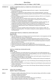 Download Digital Communications Specialist Resume Sample As Image File
