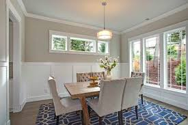 Elegant Transitional Dining Room With Board And Batten Walls Wood Table Surrounded By Grey