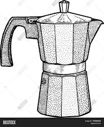Italian Coffee Maker Illustration Drawing Engraving Ink Line Art