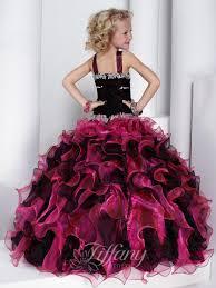 2015 double straps black fuchsia organza tiered cute prom dresses