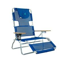 Deltess Ostrich 3-in-1 Blue Aluminum Folding Beach Chair ...