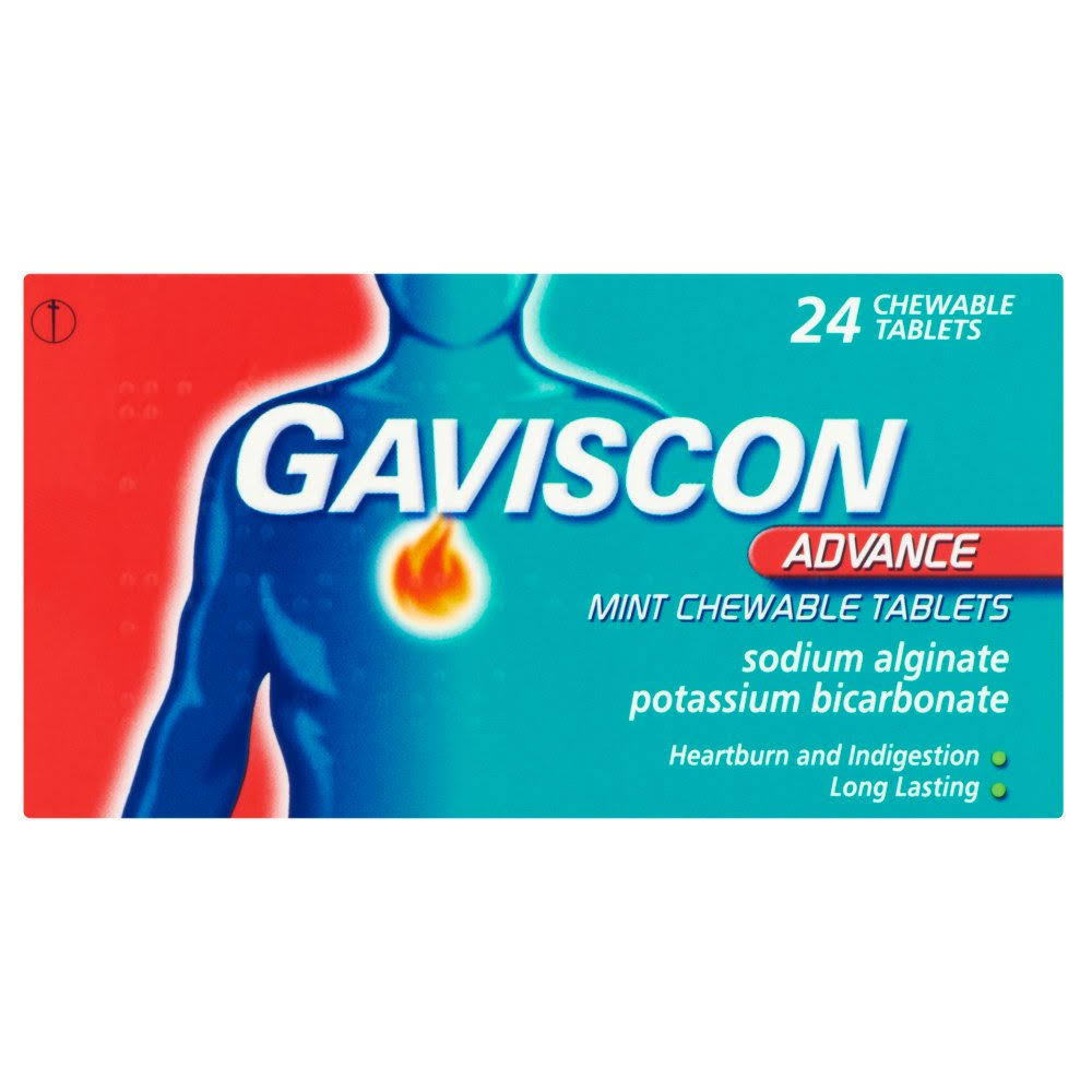 Gaviscon Advance Mint Chewable Tablets - 24ct