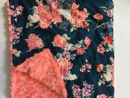 Coral And Navy Baby Bedding by Floral Baby Blanket Tula Flora Blue Https Www Etsy Com Listing