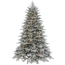 Faux Lighted Flocked Vermont Spruce Christmas Tree