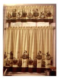 Coffee Themed Kitchen Curtains Tiers Valance Set Complete With Cups And Words
