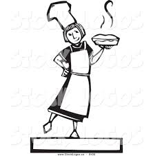 Vector Image of a Black and White Woodcut Girl Holding a Fresh Pie Bakery Logo