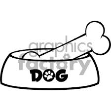 Royalty Free RF Clipart Illustration Black And White Dog Bowl With Bone Drawing Simple Design Vector