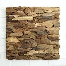 Driftwood Wall Decor Art Panel Horizontal Pattern White