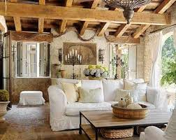 Rustic Tuscan Living Room With Wooden Ceiling And White Sofa Stone Flooring Traditional Lighting