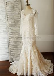 sleeves ivory lace champagne lining beaded wedding dress