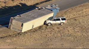 100 Cattle Truck Rolls Over Near Bennett CBS Denver