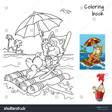 Cute Cartoon Fat Cat In A Deckchair Floats By Sea On Raft With Umbrella