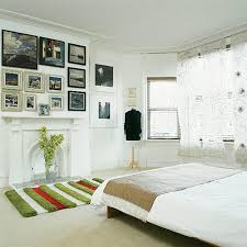 Retro Bedroom Wall Art With Photo Frames Also Bay Windows And White Fireplace