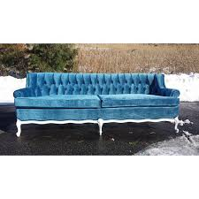 vintage french provincial couch blue velvet stunning white