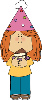 Little girl with birthday cake clipart