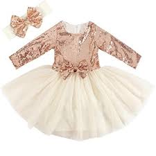 Cilucu Flower Girl Dresses Toddlers Sequin Party Dress Tutu Prom Cocktail Gown With Long Sleeve Rose
