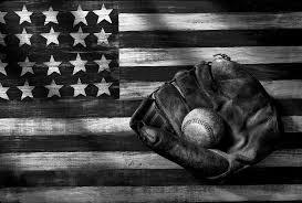 Folk Art American Flag And Baseball Mitt Black White Photograph