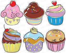 Cupcake Doodles Clip Art candy cherry sweet chocolate cream cupcakes hand drawn food doodles for Teacher Personal MERCIAL USE