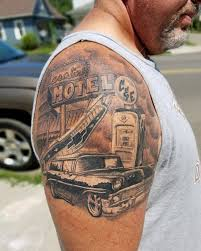 Black And Gray Car Tattoo