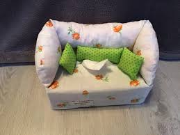 deko sofa kosmetikbox sofa taschentücherbox sofa apricot grüne kissen