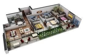 Good 3 Bedroom Modern House Plans 3d Planmodern Plan Photos