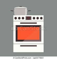 Illustration Of Stove Gas Oven With Front View Flat And Solid Color