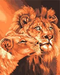 rihe löwenkönige ölgemälde zum selbermalen malen nach zahlen malen auf leinwand wandkunst bild für wohnzimmer rahmenlos