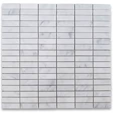 carrara white 5 8x2 rectangular stacked mosaic tile honed marble
