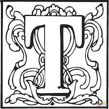Letter T With Ornament Coloring Page Free Printable Coloring Pages