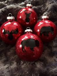 Buffalo Plaid Christmas Tree Ornaments Set Of 4 Glass Ball