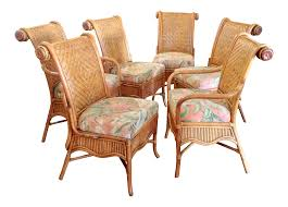 Set Of 6 Colonial Style Rattan Dining Chairs